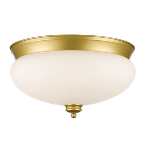 Amon Satin Gold 15-Inch Three-Light Flush Mount