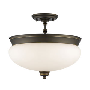 Amon Olde Bronze Three-Light Semi Flush Mount