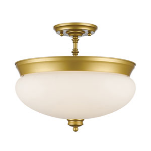 Amon Satin Gold Three-Light Semi Flush Mount