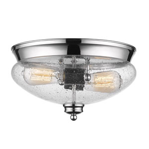 Amon Chrome Two-Light Flush Mount with Clear Seedy Glass