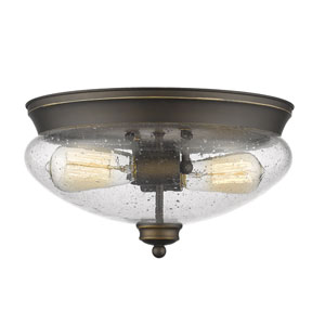 Amon Olde Bronze Two-Light Flush Mount with Clear Seedy Glass