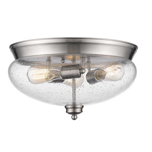 Amon Brushed Nickel Three-Light Flush Mount with Clear Seedy Glass