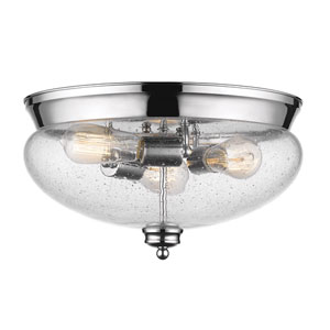 Amon Chrome Three-Light Flush Mount with Clear Seedy Glass