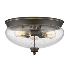 Amon Olde Bronze Three-Light Flush Mount with Clear Seedy Glass