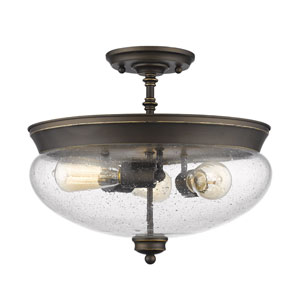 Amon Olde Bronze Three-Light Semi Flush Mount with Clear Seedy Glass