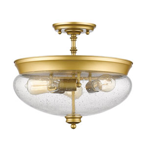 Amon Satin Gold Three-Light Semi Flush Mount with Clear Seedy Glass