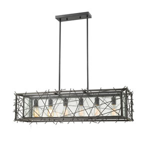 Stanwood Bronze Six-Light Linear Pendant