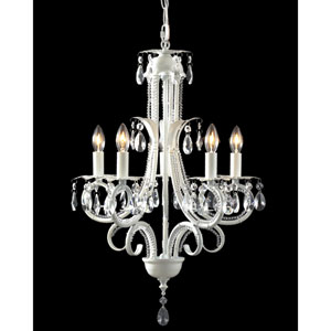 Parisian Crystal White Five-Light Chandelier