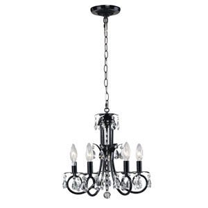 Pearl Five-Light Black Mini Chandelier with Clear Crystals