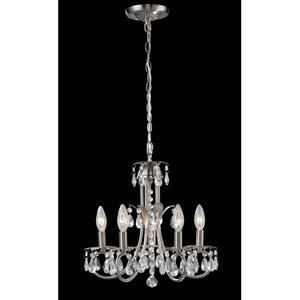 Pearl Five-Light Brushed Nickel Mini Chandelier with Clear Crystals