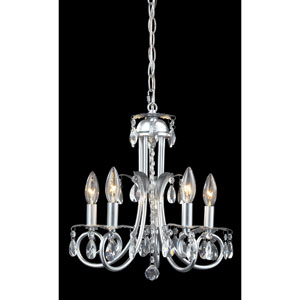 Pearl Silver Five-Light Crystal Mini Chandelier