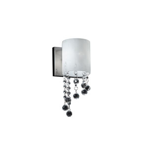 Jewel One-Light Chrome Wall Sconce with Matte Opal Glass Shade and Crystal Bead Droplets