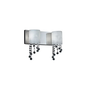 Jewel Two-Light Chrome Vanity Fixture with Matte Opal Glass Shades and Crystal Bead Droplets