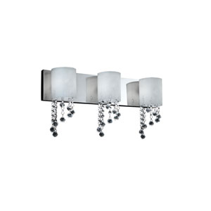 Jewel Three-Light Chrome Vanity Fixture with Matte Opal Glass Shades and Crystal Bead Droplets