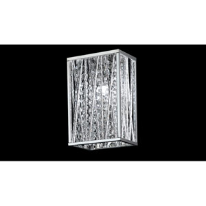 Terra One-Light Chrome Wall Sconce with Silver Aluminum Shade and Crystal Accents