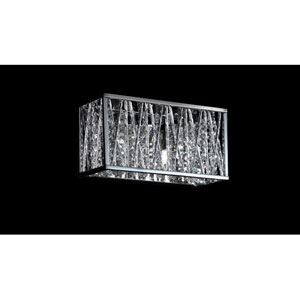 Terra Two-Light Chrome Vanity Fixture with Silver Aluminum Shade and Crystal Accents