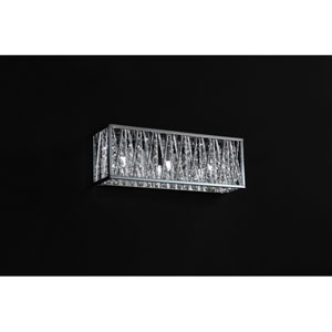 Terra Three-Light Chrome Vanity Fixture with Silver Aluminum Shade and Crystal Accents