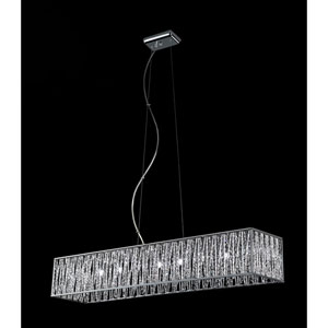 Terra Nine-Light Chrome Island Pendant with Silver Aluminum Shade and Crystal Accents