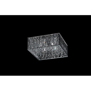 Terra Four-Light Chrome Flush Mount with Silver Aluminum Shade and Crystal Accents