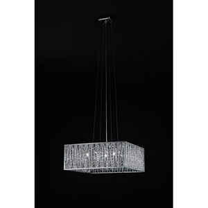 Terra Five-Light Chrome Pendant with Silver Aluminum Shade and Crystal Accents