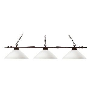 Aztec Three-Light Bronze Island Pendant with Angled Matte Opal Glass Shades