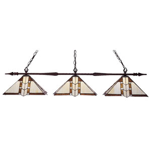 Aztec Bronze Three-Light Billiard Pendant
