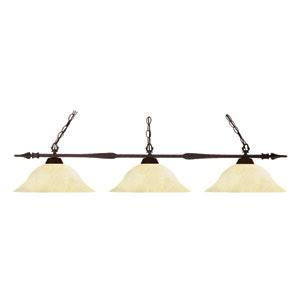 Aztec Bronze Three Light Billiard Fixture