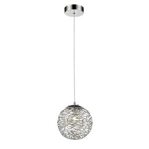Nabul Chrome One-Light Globe Mini Pendant with Chrome and Crystal Shade