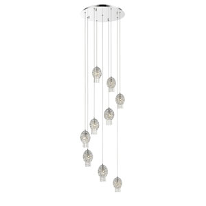 Nabul Chrome Nine-Light Pendant with Chrome and Crystal Shades