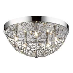 Nabul Chrome Five-Light Flush Mount with Chrome and Crystal Shades