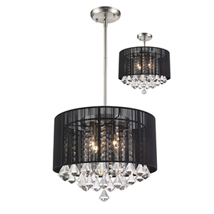 Aura Black Brushed Nickel Four-Light Pendant