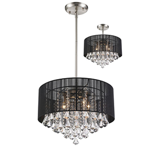 Aura Black Brushed Nickel Five-Light Pendant