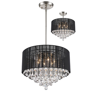 Aura Black Brushed Nickel Six-Light Pendant