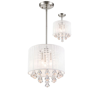 Aura Brushed Nickel Three-Light Pendant