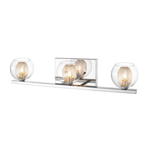 Auge Chrome Three-Light Vanity with Clear Glass and Iron Mesh Shades