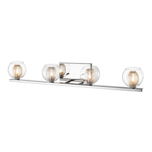 Auge Chrome Four-Light Vanity with Clear Glass and Iron Mesh Shades
