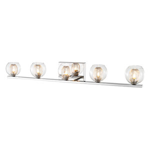 Auge Chrome Five-Light Vanity with Clear Glass and Iron Mesh Shades