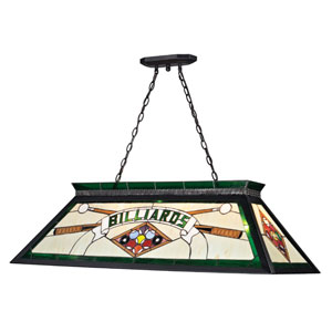 Tiffany Billiard Matte Black  Four Light Billiard