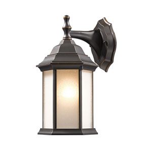 Waterdown Oil Rubbed Bronze 6-Inch One-Light Outdoor Wall Light with Seedy White Glass Shade
