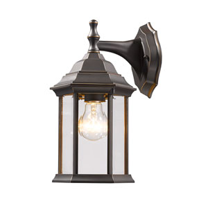 Waterdown Oil Rubbed Bronze 6-Inch One-Light Outdoor Wall Light with Clear Beveled Glass Shade