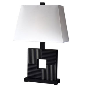 Black One-Light Table Lamp with White Shade