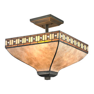 Crimson Java Bronze Three-Light Semi Flush Mount with White Mica and Honey Amber Tiffany Glass