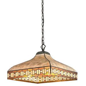 Crimson Java Bronze Three-Light Dome Pendant with White Mica and Honey Amber Tiffany Glass