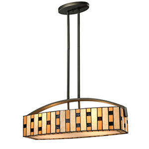Raya Java Bronze Four-Light Linear Pendant
