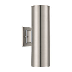 Ascoli Stainless Steel Two-Light Outdoor Sconce with Clear Shade