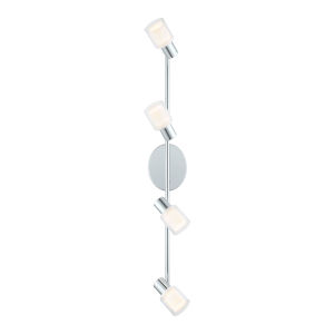 Salti Chrome Four-Light LED Track Light with Clear and White Glass Shade