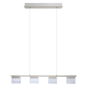 Vicino Matte Nickel Four-Light LED Pendant with Frosted Clear Glass Shade