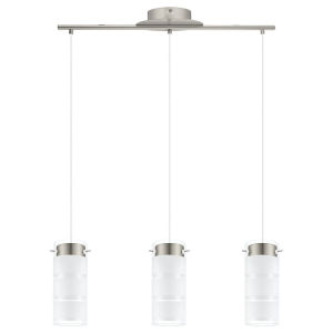Olvero Matte Nickel Three-Light LED Pendant with White and Clear Glass Shade