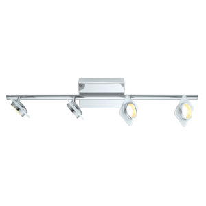 Tinnari Chrome Four-Light LED Track Light with Frosted Clear Glass Shade