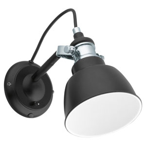 Thornford Matte Black and Chrome One-Light Wall Sconce